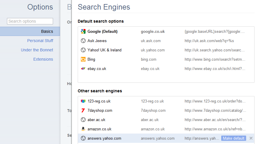 Searching With Chrome Search Engines