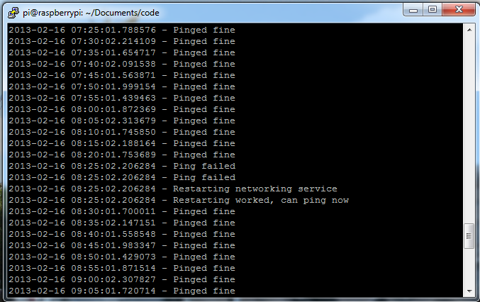 Networking restart script showing 1 restart
