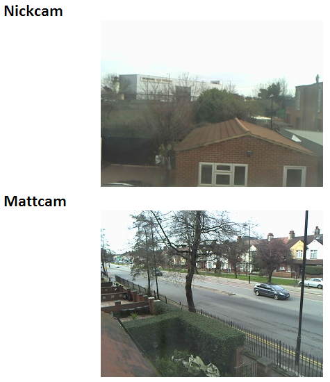 The webcams output on a webpage